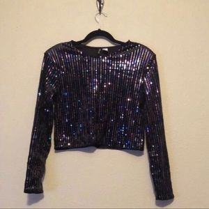 H&M | Divided Black and Rainbow Sequin Crop Top M